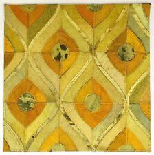 SURYA Leather Hair on Hide Mat Carpet Tile Wall Art Yellow, Saffron, Lime 18x18