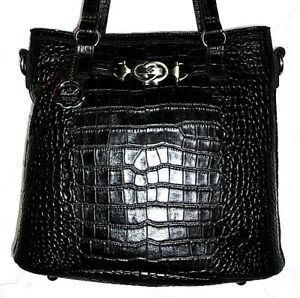 Patricia Nash Black Distressed Vintage Croc Lundy Tote Crossbody Bag $229