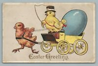 Stage Coach Easter Chick—Dressed Animal Fantasy Postcard—Top Hat—Egg—Embossed