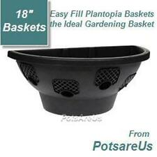 "4 X 18""NEW EASY FILL HANGING WALL PLANTER BASKET(BLACK)"