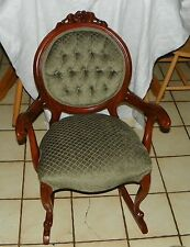 Carved Solid Mahogany Carved Rocker / Rocking Chair by Victorian (R86)