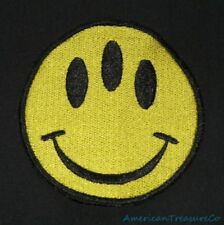 Embroidered Yellow Three Eyed Smiley Happy Face Mutant Alien Patch Iron Sew On