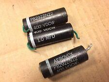 3 Vintage Aerovox 1 uf 400v Capacitors P8292ZN guitar Amp Tone Caps 1963