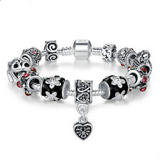 Wostu Christmas silver Charms Bracelet With Black Murano Bead For Women Jewelry