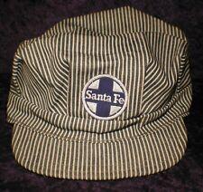Vintage Santa Fe Hat Engineer Snapback Cap Patch Railway Railroad Blue Made USA
