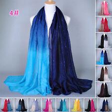 Women Voile Glitter Gradient Long Hijab Scarf Scarves Pashmina Wrap Shawl Stole