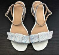 jcrew sandals size 9us glitter bow with ankle new in box