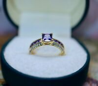 Antique Jewellery Gold Ring Amethyst White Sapphires Vintage Jewelry size Q1/2