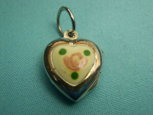 Vtg Sterling Silver Puffy Heart Charm ~ Guilloche Enamel Hand Painted Pink Rose
