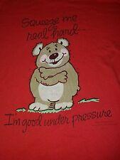 Vintage Mens Medium Teddy Bear T-Shirt M Red Squeeze Hugs Red Thin Cute