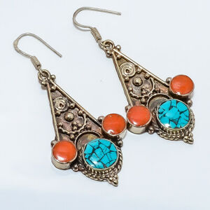 """Tibetan Santa Rosa Turquoise & Coral 925 Sterling Silver Earring 2.8"""" S6144"""