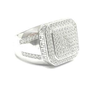 925 Sterling Silver White Gold Finish Sparkly Icey Shiny Bling Men Pinky Ring