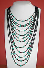 Multi Strand Grey Quartz, Turquoise, Gold Pearl Beads w/Sterling S-Clasp - NK133
