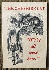 WOODEN POSTCARD SIGN: ALICE IN WONDERLAND CHESHIRE CAT  - NEW & POST DAILY