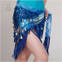 New Belly Dance Costume Hip Scarf Tribal Triangle Tassel Belt&Gold coins 8 color