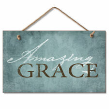 Retro Wooden Sign Wall Plaque Amazing Grace Inspirational Hymn