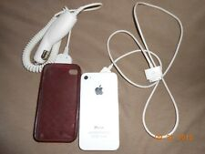 Cell iphone 4 w/ case, charger, & car charger white Verizon unlocked Free Ship
