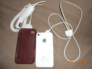 Cell iphone 4 w/ case, charger, & car charger white Verizon unlocked Final Sale