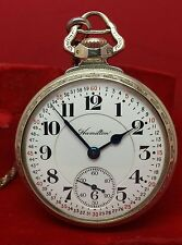 Hamilton 990 21 Jewel Lever Set 14K GF Pocket Watch Sterling Silver Fob 16 Size
