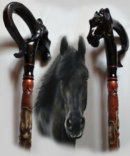 Horse Carved walking sticks Horse hand made  Wood walking stick