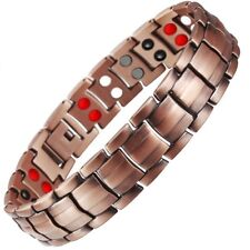 Double Strength 4 Elements Mens Pure Copper Magnetic Therapy Bracelet Arthritis