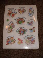 Vintage Hallmark Christmas Sticker Sheet 1983 Mice Bird Bunny Squirrel Raccoon