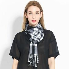 Winter Plaid Scarf For Women Wool Pashmina Warm Shawls and Wraps Cashmere Tassel