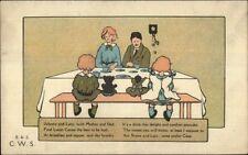 Family at Dinner Table Dolly & Teddy Bear - Luton Cocoa c1910 Postcard