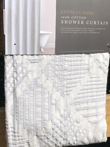 New Envogue Home Designer Shower Curtain Embossed Geometric Pattern Gray Cotton