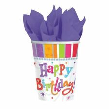 8pk Radiant Happy Birthday Paper Cup 266ml Multi Colour Party Tableware