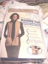Unisex WINTER WARMING SCARF ZIPPER POCKETS, FILLED RICE FLAX SEEDS MICROWAVEABEL