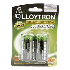 2Pk C 3000mAh NiMH Rechargeable Accu Ultra Batteries Up To 1000 Charges B016