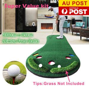 Golf Putting Mat Practice Blanket Indoor Outdoor Training Aid Free Golf Balls AU