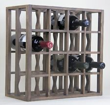 Victoria Wine Rack 16 bottles Solid Wood  Smoked color Countertop