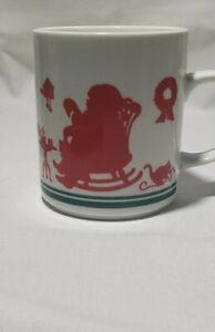 Vintage 1984 Avon Red Christmas Silhouette Souvenir Coffee Tea Cup Mug