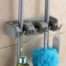Magic Holder with 3 Position for Mop Broom Holder with 4 Hooks Bathroom Fittings