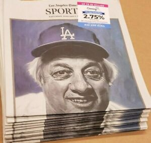 LA Times Tommy Lasorda Forever a boy in Dodgers blue 1/9/21Complete Newspaper