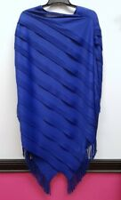 CHICOS TRAVELERS L XL 2 3 Blue Textured Fringe Pullover Poncho Top
