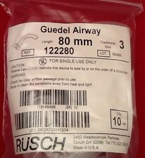 NEW LOT OF 10 RUSCH AIRWAY PHARYNGEAL GUEDEL AIRWAY 80mm Size 3 Ref 122280