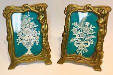 2 antique Art Nouveau Jugendstil brass cadre photo picture frame bilderrahmen