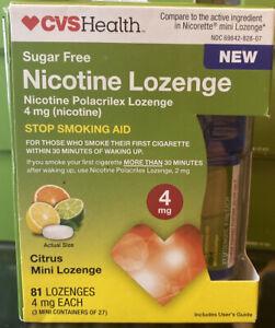 CVS Health Nicotine Lozenge 4 mg 81 LOZENGES stop smoking Citrus FACTORY SEAL