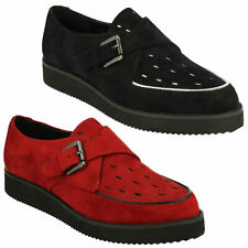 F9R567 LADIES SPOT ON FLAT SLIP ON BUCKLE CASUAL EVERYDAY FLATFORM CREEPER SHOES