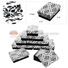 "12 Damask Print Gift Jewelry Cotton Filled Boxes 3 1/4"" x 2 1/4"" x 1"" Bracelets"