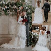 Layer Tulle Princess Wedding Dresses Bridal Gowns White Ivory V-back Long Sleeve