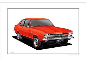 HOLDEN LC GTR-XU1 TORANA  LIMITED EDITION  CAR DRAWING  PRINT  ( 5 CAR COLOURS)
