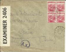 Algeria Sc#134(block of 4)-MOSTAGANEM ORAN 20/1/43-WWII CENSORS-to
