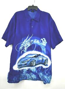 KNU Mens Blue Short Sleeve Button Up Dragon Car Graphic Flat Collar Shirt Sz XL