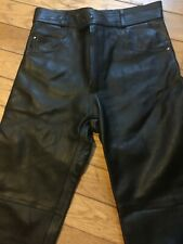 FRANK THOMAS MENS USED BLACK Leather Motorcycle Jeans SIZE 32 waist