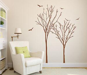 2x Trees Sticker with Birds Art Vinyl Wall Sticker DIY Home Wall Decal Transfer