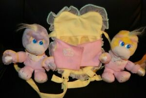 Vintage 1989 Mattel Baby Turtle Tot Twins Plush Dolls W/ Carrier Backpack HTF